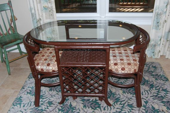 vintage wicker rocking chair papasan cushion was 90.00 - rattan dinette table and chairs | rattans pinterest ...