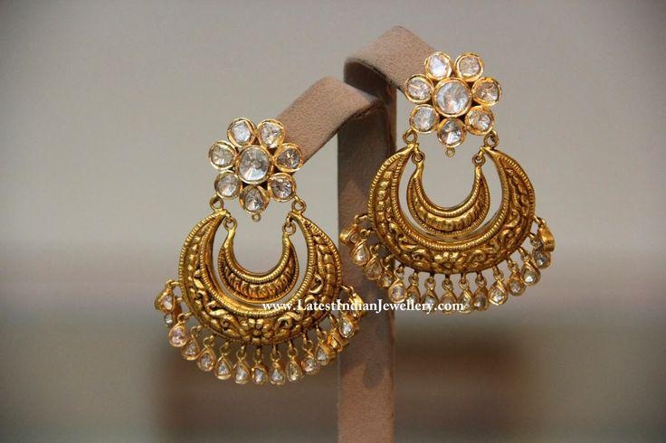 chandbali earrings gold - Google Search