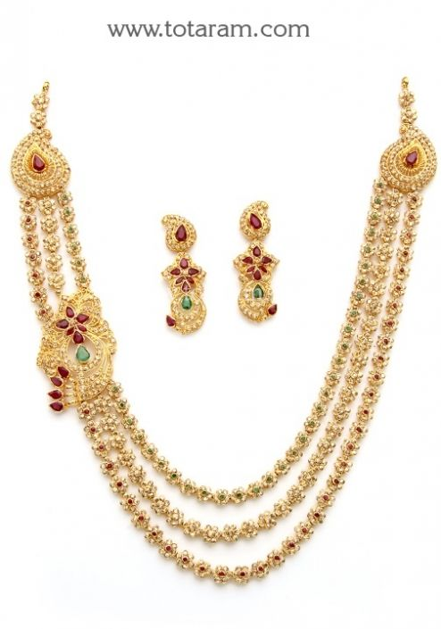 22K Gold Necklace & Drop Earrings Set with Uncut Diamonds: Totaram Jewelers: Buy Indian Gold jewelry & 18K Diamond jewelry