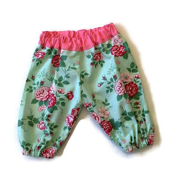 BABY HAREMS MINT floral pink harem pants size by TwoBlackRabbits