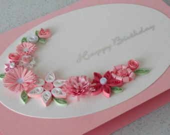Pink quilled flowered greeting card - on etsy.com