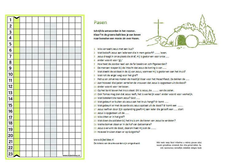 De eerste letters van de antwoorden maken een nieuwe zin over Pasen:  Jezus is sterker dan de dood. www.bijbelidee.nl