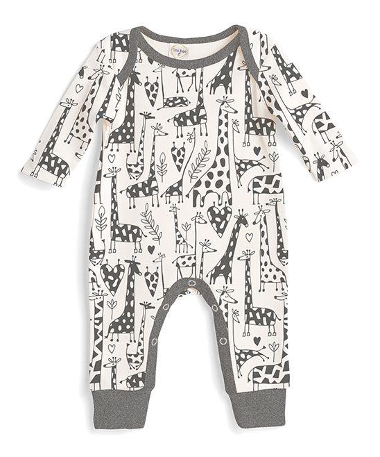 2bd4a1b3453 Tesa Babe Charcoal   Ivory Giraffe Romper - Newborn   Infant ...