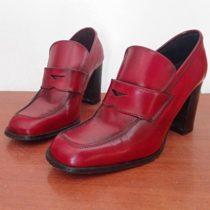 Vintage red pumps shoes women chaussures 90s new burgundy nr 39 - 8.5 so Gucci style