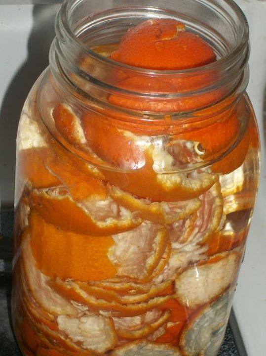 Orange peels, vinegar in a quart jar, let sit for 10 days or so...strain out the liquid and use as an all-purpose cleaner.  via Homestead Survival #facebook