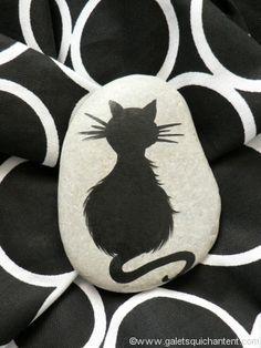 Presse-papier galet - chat de dos