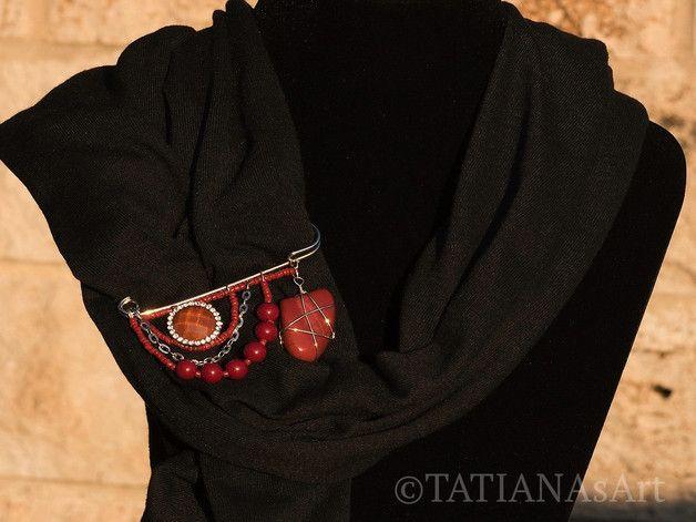 Ansteckbroschen - Terrakotta Anstecknadel mit rotem Jaspis Stein - ein Designerstück von TATIANAsArt bei DaWanda