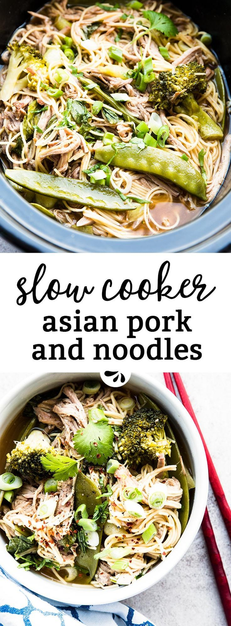 A great slow cooker recipe for summer, these Asian pork noodles are made ENTIRELY in the crockpot! You don't even need to brown the meat, so it heats up your kitchen as little as possible. Made with plenty of fresh vegetables and a from scratch sauce, it's a healthy dinner your whole family will enjoy. You could even make the meat by itself for a fun Asian twist on pulled pork sliders! Cooks on HIGH for 6 hours before the vegetables and noodles get added. All regular ingredients you already…