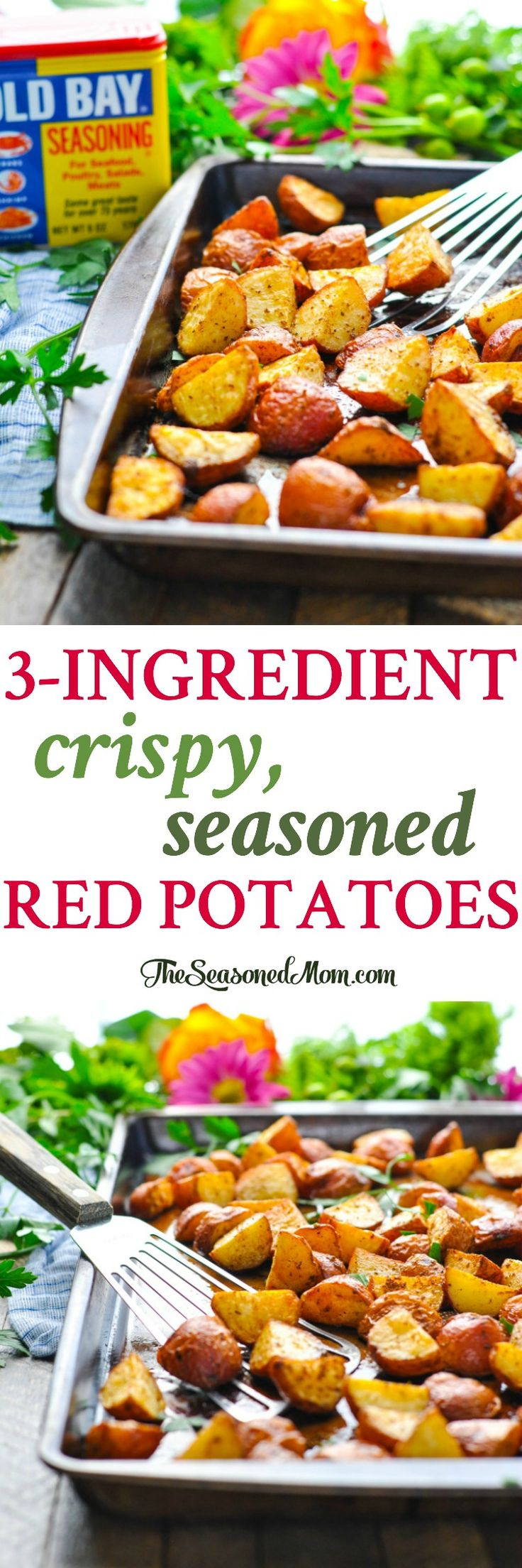 These 3-Ingredient Crispy Seasoned Red Potatoes are one of our favorite easy side dishes! Side Dish Recipes Easy | 5 Ingredients or Less Recipes | Sides