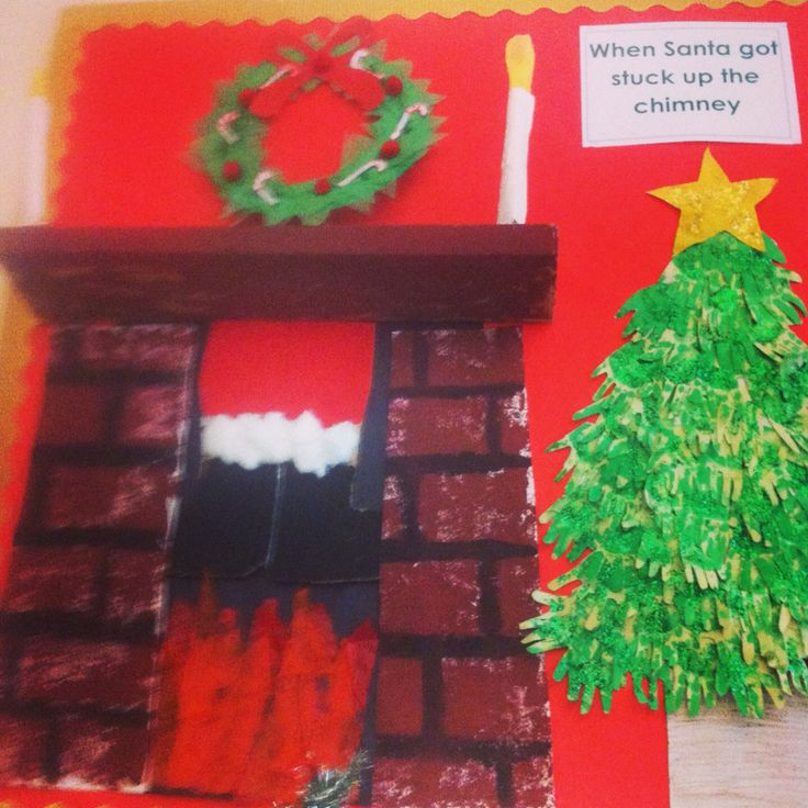 Christmas when santa got stuck up the chimney display