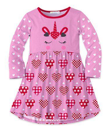 692eb0dcf97f Pink & Red Unicorn Heart Long-Sleeve Swing Dress - Toddler & Girls  #zulilyfinds