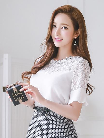 StyleOnMe_Jeweled Neck Line Lace Detail Blouse #white #lace #jeweled #blouse…