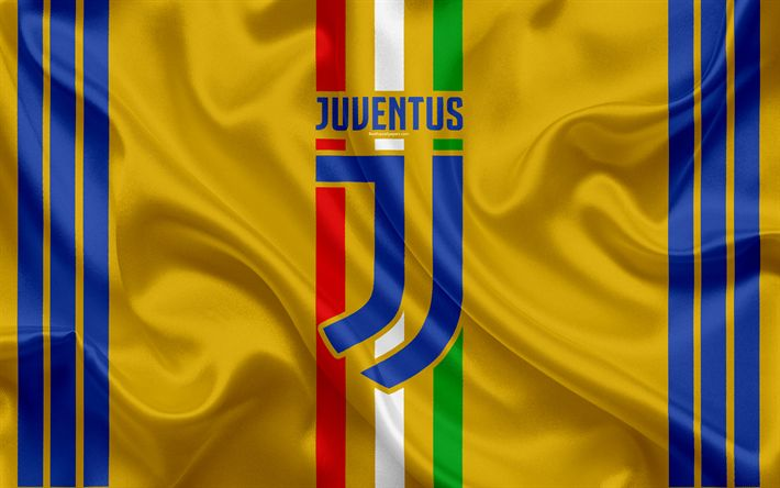 Download wallpapers Juventus, new logo, 4k, Turin, Serie A, yellow silk, Italy, football, Italian football club, Flag of Italy