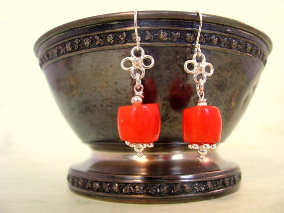 Red Coral Wire Wrapped Sterling Silver Handmade by AnnesJewellery, €34.00