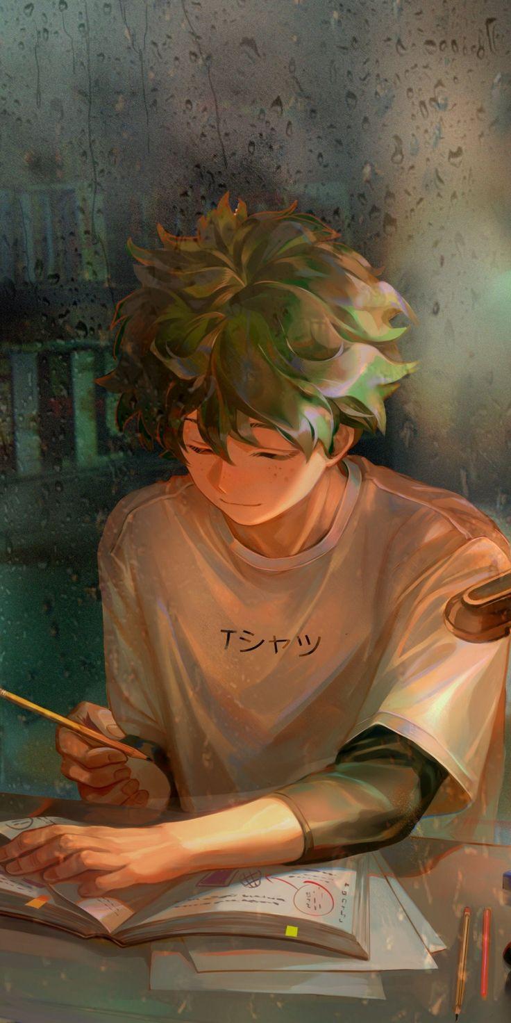 homework green hair anime boy izuku midoriya