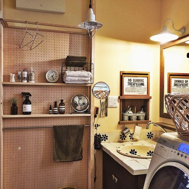 yururi-8239223さんの、DIY,収納,タオル,トゥシェ,洗濯かご,IKEAの鏡,Aesop,COLONY 2139,IKEA,扇風機,ハンガー掛け,無印良品 時計,洗面所 棚,洗面所DIY,ディアウォール,有孔ボード,タオルハンガー,見せる収納,洗面所,洗面所 収納,山善収納部,見せる派,Bathroom,のお部屋写真