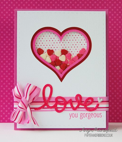 Love You Gorgeous shaker Valentine's Day Card