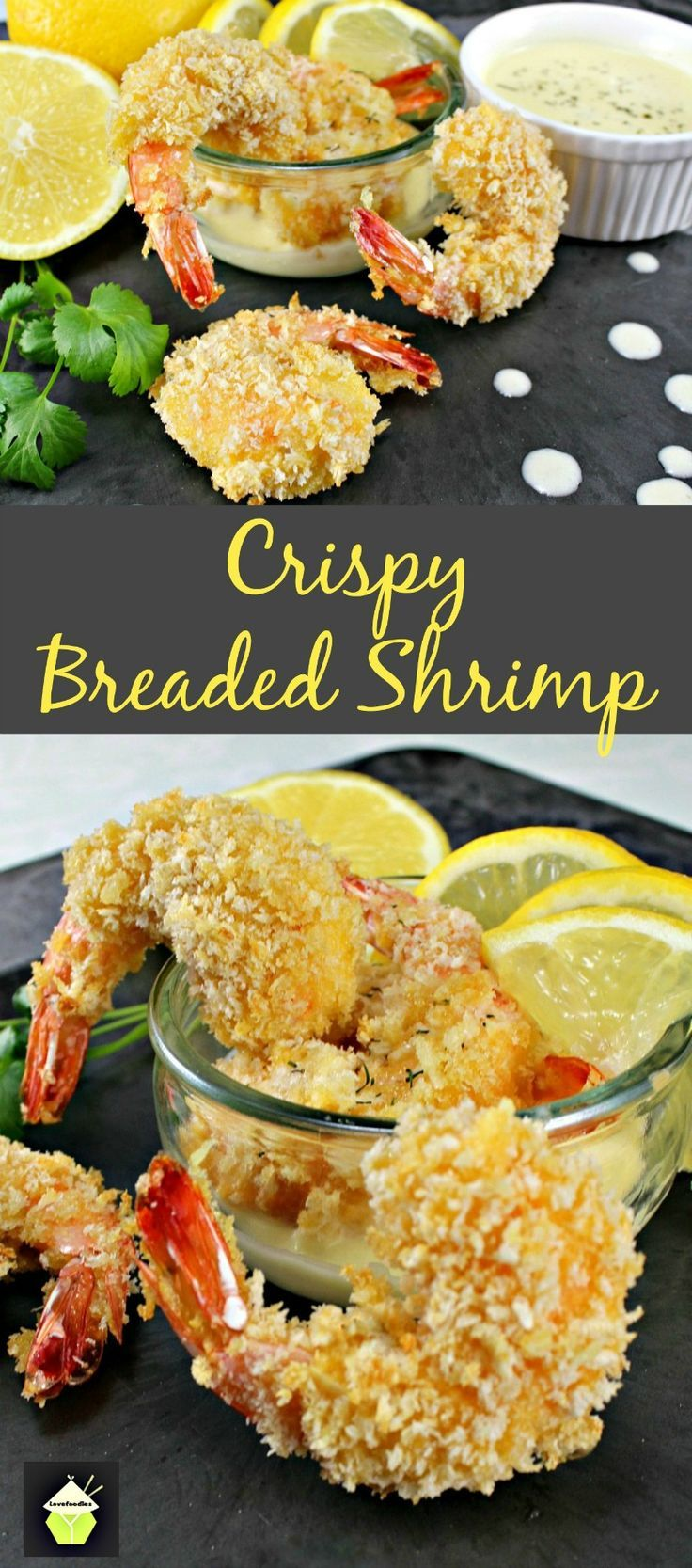 Crispy Breaded Shrimp. An incredible easy and quick recipe, serve as a starter or as party food. Oh so good! No frying either!  #shrimp #breaded #baked #prawns