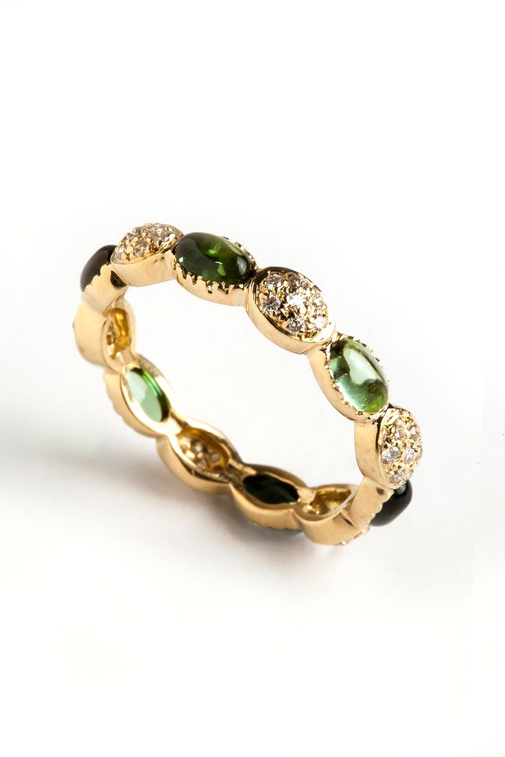 Hania Kuzbari Freestyle Collection ring // 18K yellow gold, white diamond, green tourmaline // http://haniakuzbari.com/freestyle.php