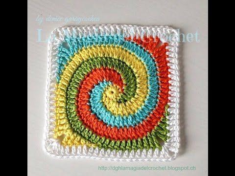 Granny Square en espiral a crochet - YouTube ༺✿ƬⱤღ https://www.pinterest.com/teretegui/✿༻