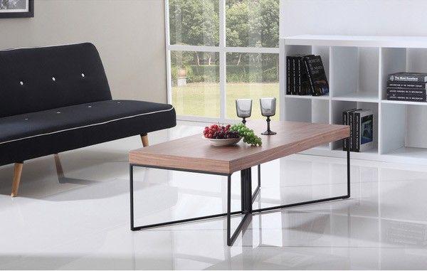 B-Modern - Mixer Light Walnut and Black Steel Coffee Table  - BM-300-BRN-B