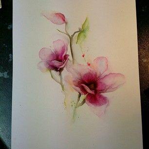 Instagram photo by sammiejonesart - Magnolia watercolour piece painted today. I…