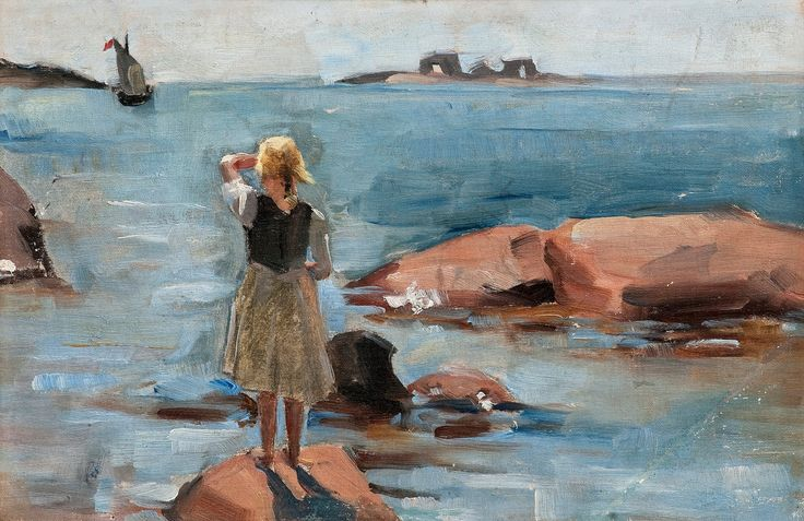 Venny Soldan-Brofeldt 1863-1945 A Girl on the Cliffs in Hanko -  by Bukowskis