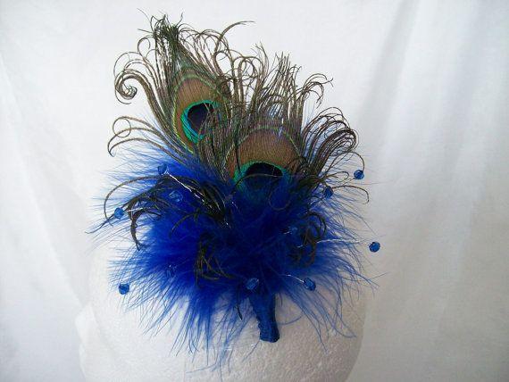Royal Sapphire Cobalt Blue Victoriana Peacock Feather & Crystal Burlesque Wedding Fascinator Hair Comb - Custom Made To Order