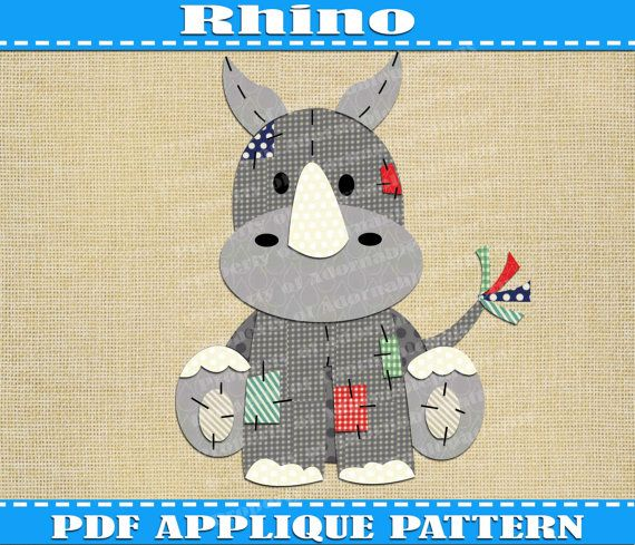 Rhino Applique Pattern Template Pdf Download By