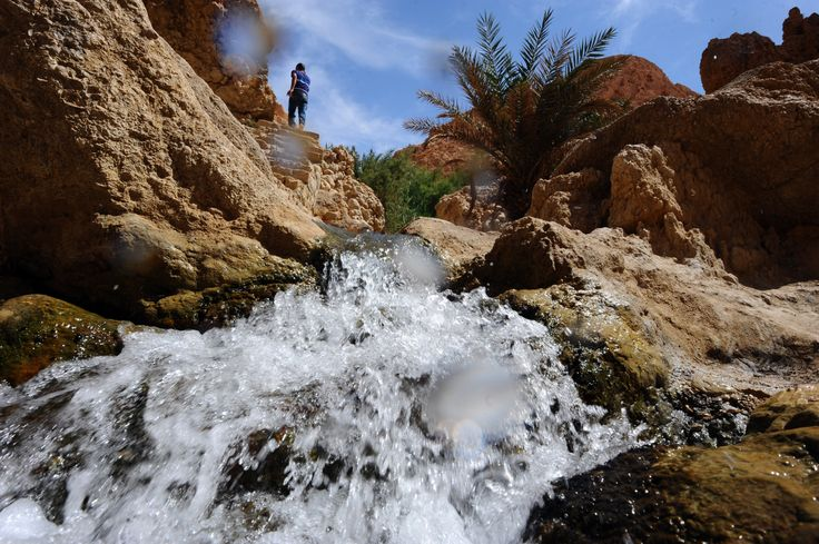 Sungai alami di pegunungan Chibika di daerah Djerid di wilayah baratdaya Tunisia, di barat provinsi Tozeur.