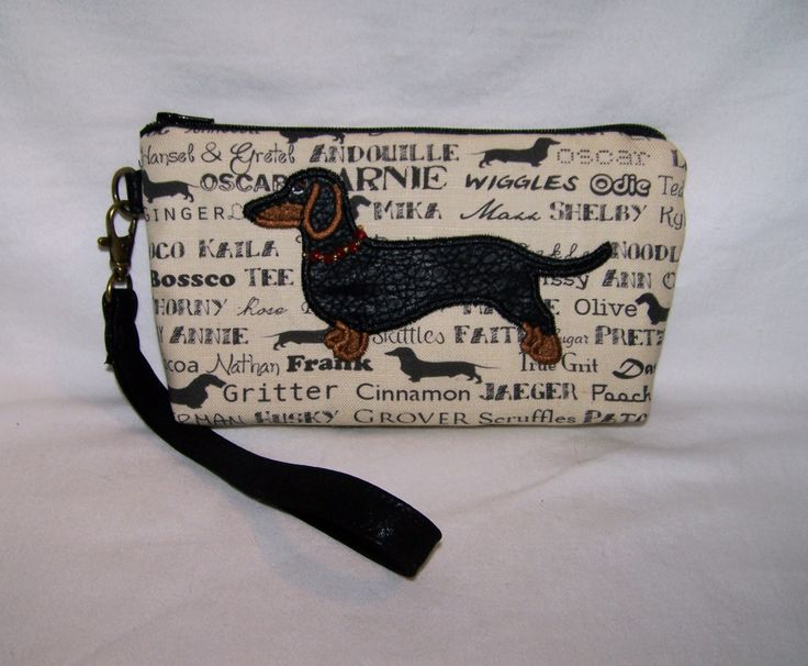 Dachshund Clutch/Wristlet with Black and Tan Dachshund with a Beaded Collar by OscarsCreations on Etsy