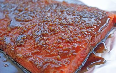 Salmon+marinating Grainy Mustard Balsamic Salmon, Sesame Asparagus and Snap Peas, and Orange Mashed Sweet Potatoes