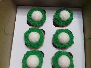 Golf cupcakes, with yellow cupcakes with chocolate chip cookie dough filling.