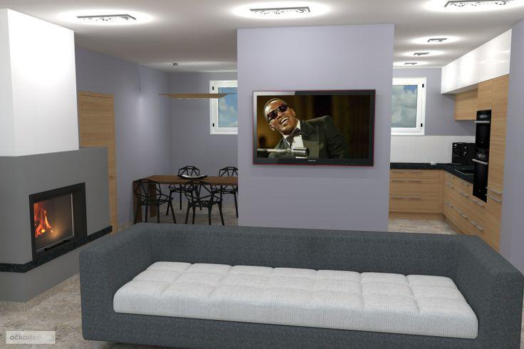pro zjemnění je interiér vymalován v ocelové šedé. Petr Molek interiérový design www.ockodesign.cz