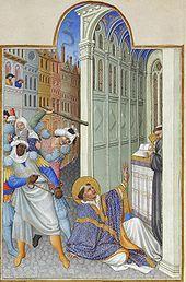 The martyrdom of Saint Mark. Très Riches Heures du duc de Berry (Musée Condé, Chantilly).