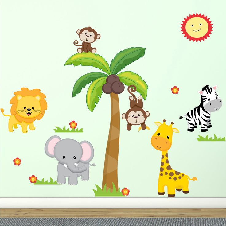 """Jungle Wall Decal Fabric Wall Stickers Safari Nursery Wall Decal 100% Polyester Fabric, UL Greenguard Certified for Low Chemical Emissions, Great Shower Gift 60"""" - Peel and Stick. This fun and happy nursery room wall decal is made of 100% polyester wall adhesive. This innovative material is reusable, repositionable and very durable. You can place and replace the wall decals numerous times without losing adhesivability. Simply peel and stick. These wall decals are UL Greenguard Certified…"""