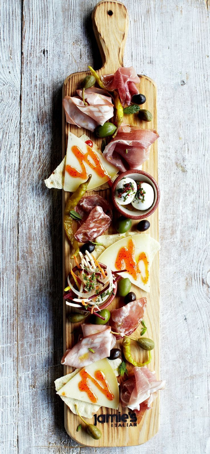 The famous planks at Jamie's Italian. Served with your favorite cured meats, Italian cheeses, and pickled vegetables. www.bingohall.com