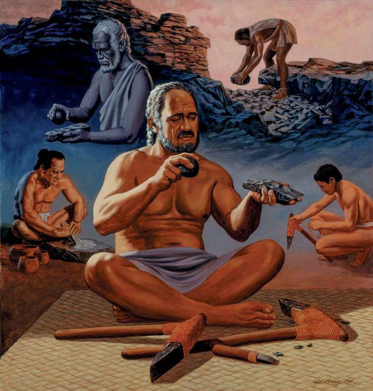 hawaiian adze. adze maker, painting by herb kawainui kāne. | herbert \ hawaiian