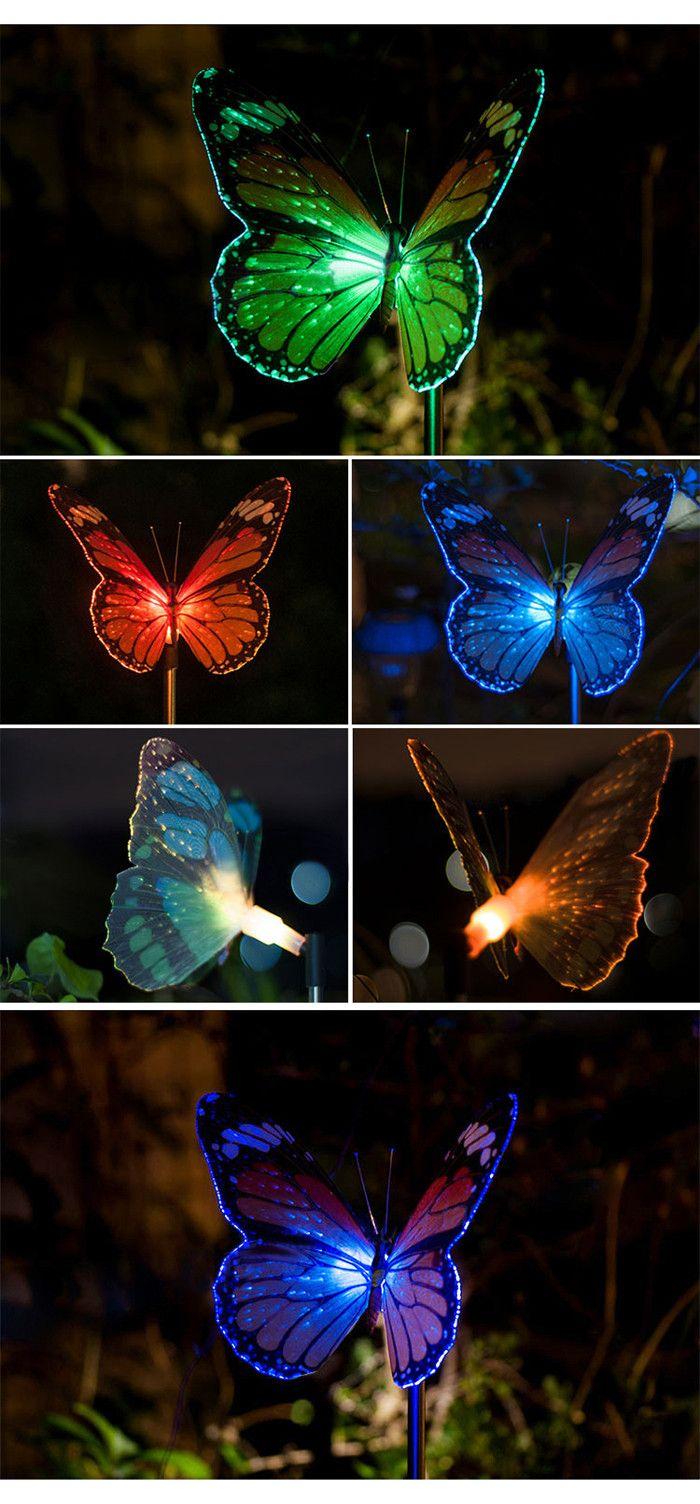Butterfly LED Optical Fiber Solar Power Outdoor Light Lamp