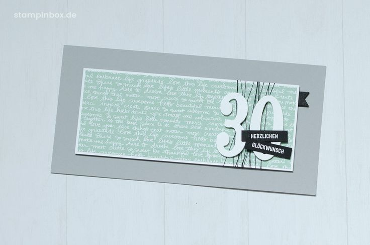 Eine Geburtstagskarte zum 30., welche mit den Stampin' Up! Framelits Große Zahlen und dem Designerpapier im Block in Minzmakrone dekoriert wurde. #stampinup #stampinbox http://stampinbox.de