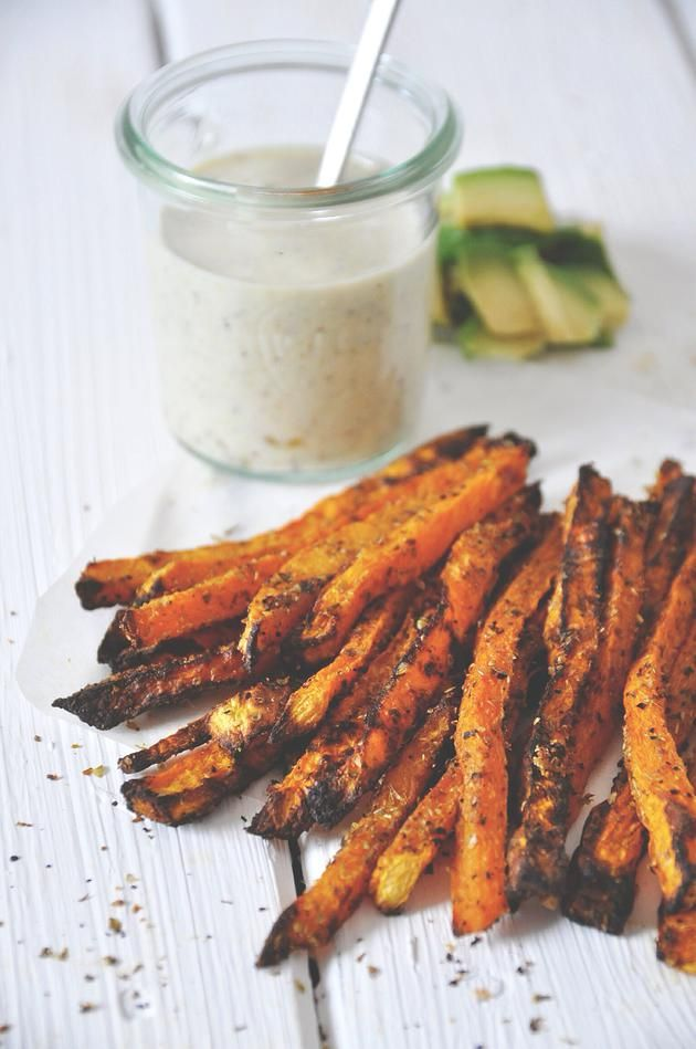 nads healthy kitchen | pumpkin-oregano fries with a sweet goat's cheese fig and avocado dipping sauce.