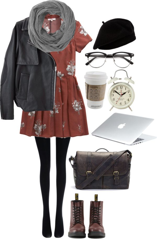 Floral Dress / Leather Jacket / Black Tights / Dr Martens Cherry Boots / Brown Leather Messenger Bag / Grey Circle Scarf / Black Beret