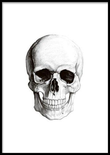 Affisch, posters med tecknad döskalle, kranium. Svartvita tavlor online. www.desenio.se