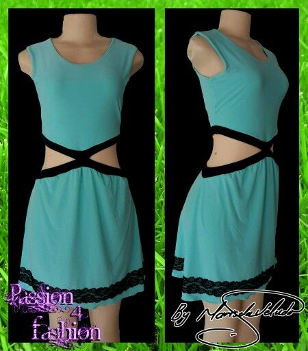 Mint green smart casual dress with side tummy opening, both front and back. trimmed with black and bottoms detailed with black lace. #mariselaveludo #fashion #casualwear #dress #mintgreen #sexydress