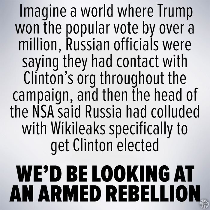 This is why we're marching and protesting. Trump spent months saying the election was rigged and it turns out, he was right all along but it was rigged FOR him, not against him. With Clinton now winning the popular vote by somewhere between 1-1.5 million and millions more still to be counted and add in the facts about Russia, Wikileaks and the FBI, this election was stolen from Clinton, plain as day, period.