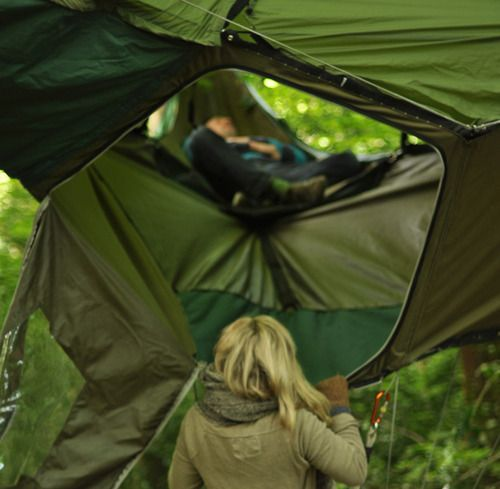"""It's called a """"tentsile"""", a cross between a hammock and a tent."""