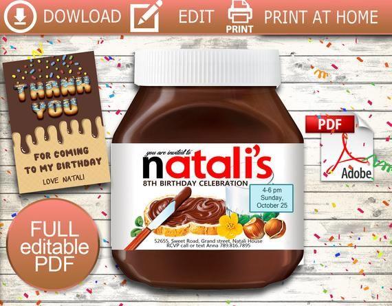 Nutella Invitation Nutella Nutella Labels Nutella Name Nutella Jar Nutella Birthday Nutella Party Custom La Birthday Supplies Unique Items Products Invitations
