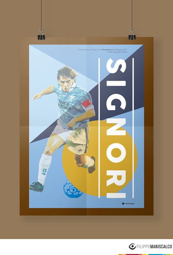 Collection of nine players on the illustrations of the 'Series A, the most beautiful championship in the world'. Graphic reproductions made through different styles. #SerieAPoster #Signori #SSLazio    In Stock $33.28