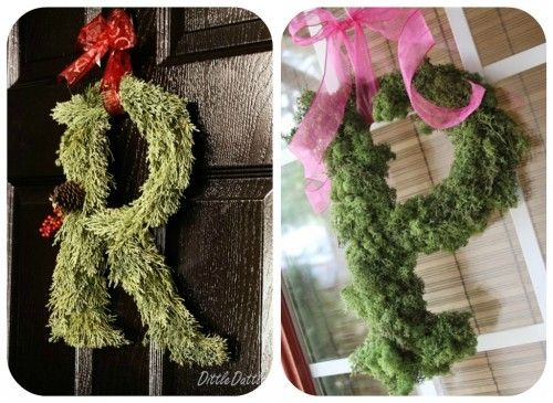 Moss Wreath  44.  Monogrammed Door Wreath~ A cute idea for adding some personal flair to an existing or store-bought wreath. 45.   How to make a moss wreath ~  A step by step guide to making a lush moss wreath.  This wreath is so classic, it could be used year round!