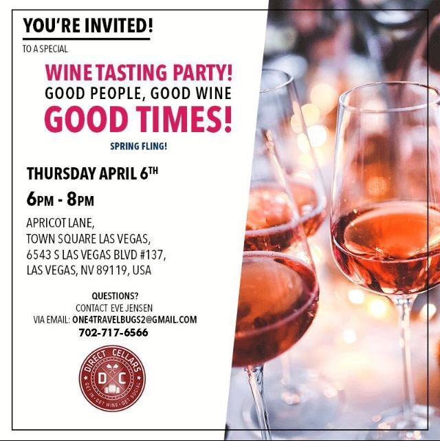 FREE event supporting Direct Cellars at Apricot Lane Boutique in Town Square.  We are also offering 20% OFF of your Apricot Lane purchase.
